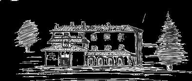Bleistift Graphik des Gebáudes und Garten des Zentrums Los Rubios