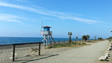 The beach of the village of Los Rubios with tower for the swim master