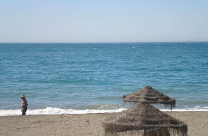 Beach in the sun in Rincon de la Victoria near Malaga