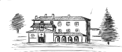 Pencil graphic of the building and garden of the Center Los Rubios